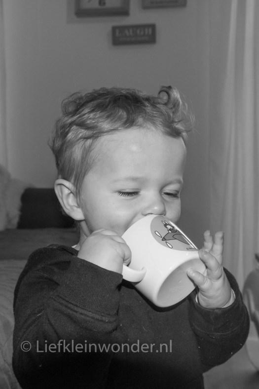 Jayden 14 maanden oud - baby dreumes zelf uit een beker drinken