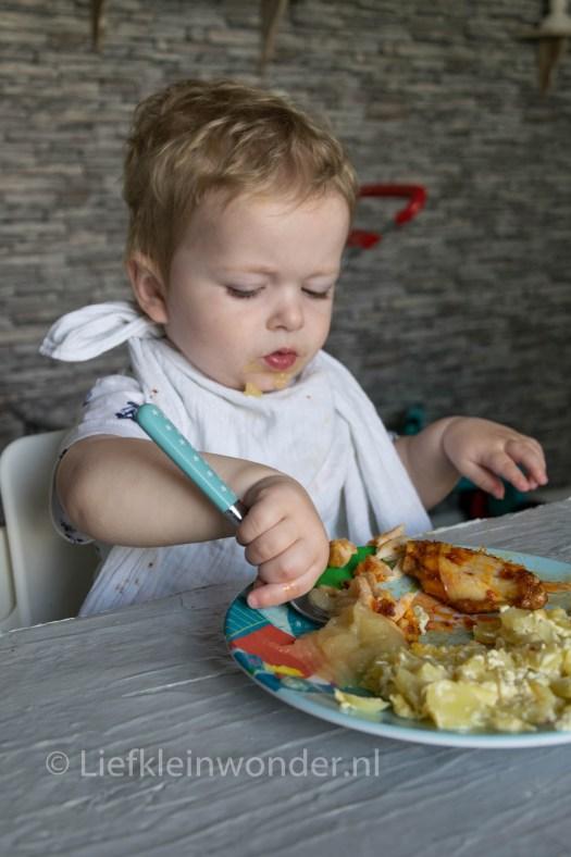 Jayden 16 maanden en 2 weken oud peuter dreumes - Appelmoes eten en kip kluiven