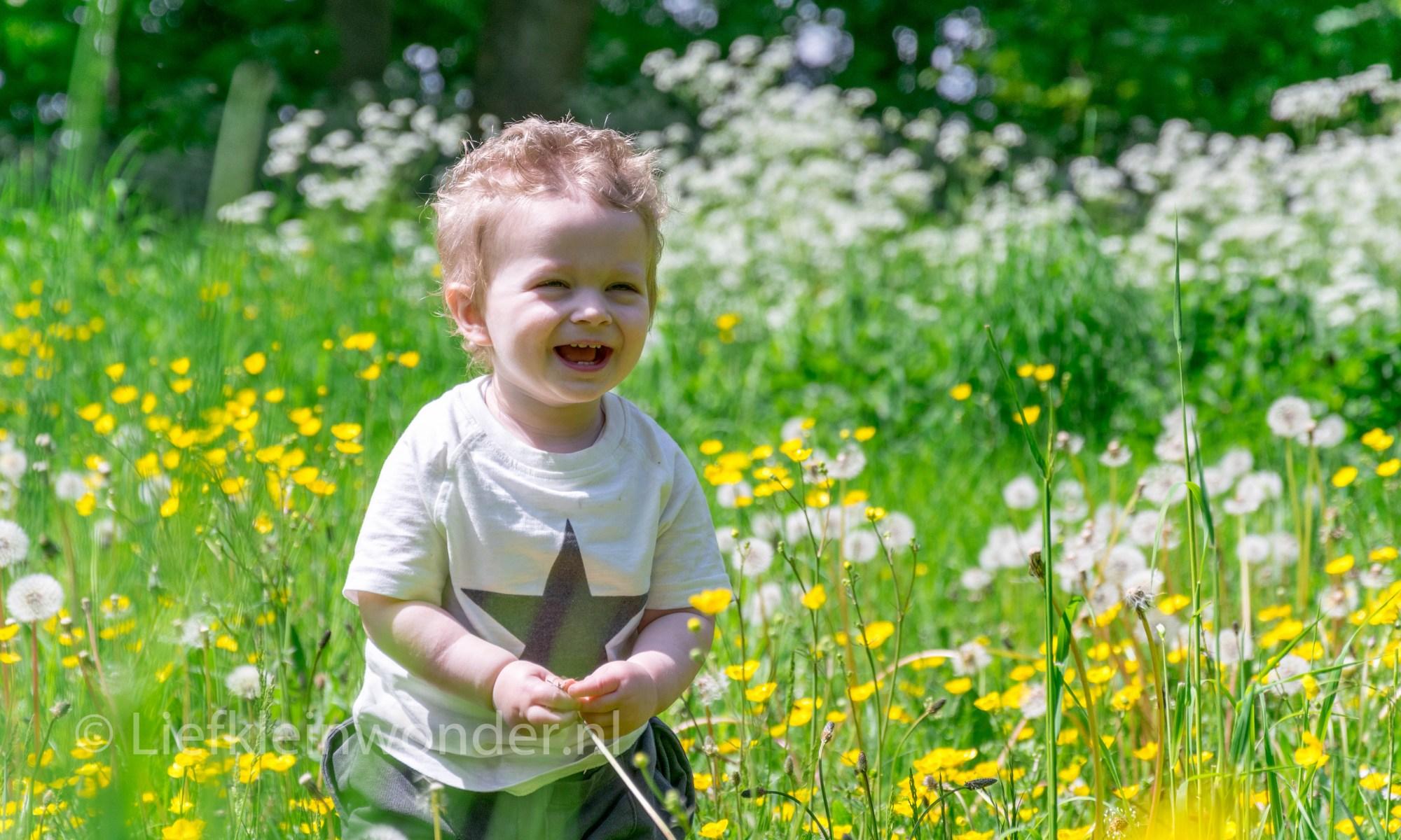 Jayden 16 maanden en 3 weken oud peuter dreumes - wandelen in het bos met de mutsy funseat