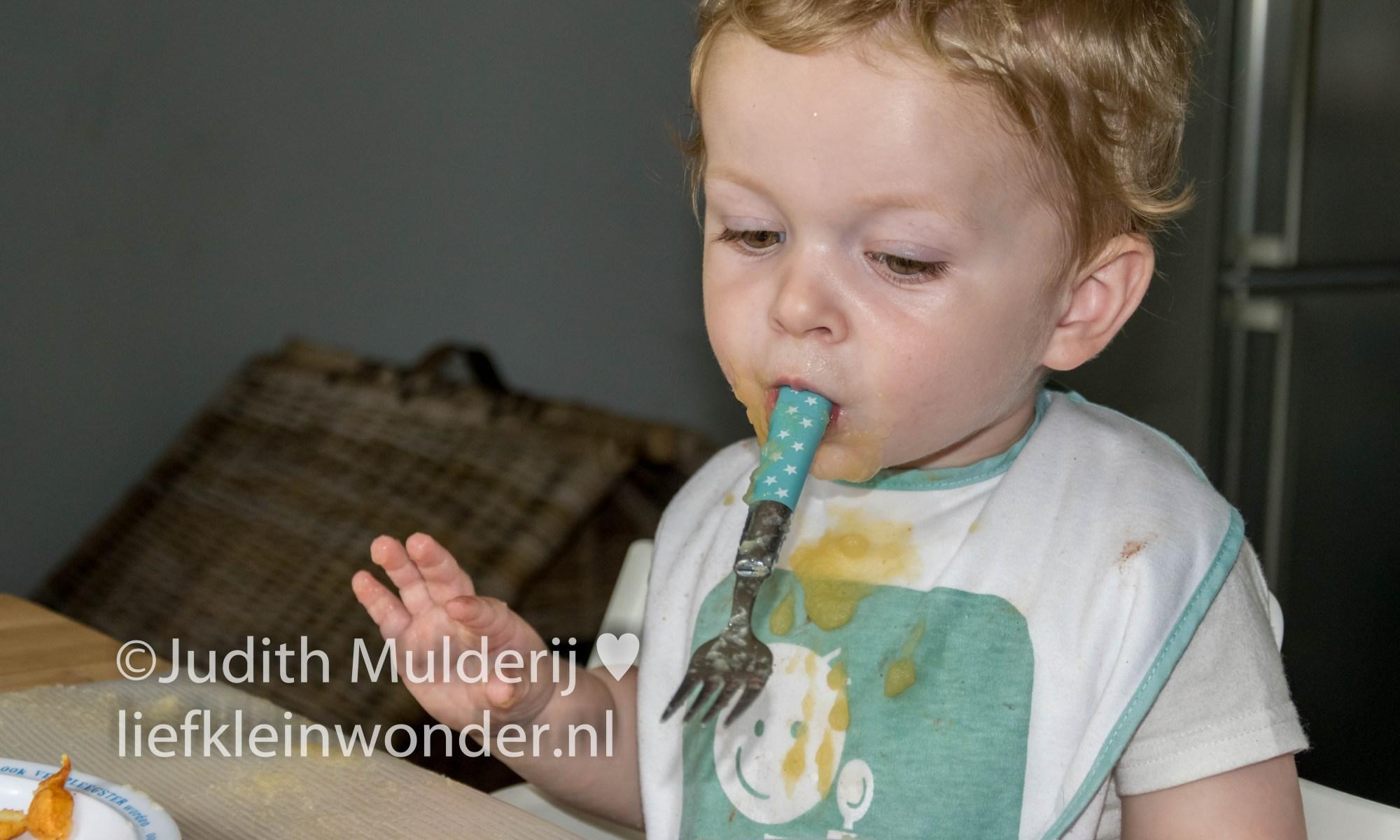 Jayden 18 maanden oud peuter dreumes - liever appelmoes dan aardappels en vlees