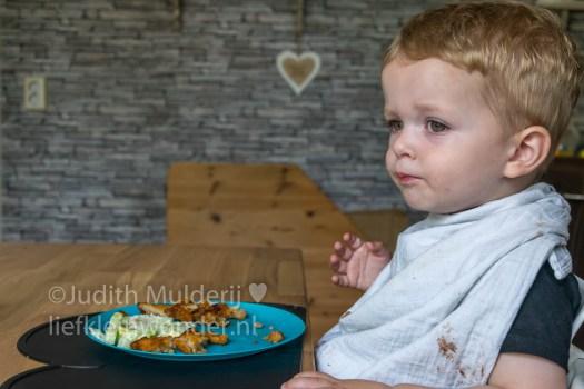 Jayden 20 maanden oud peuter dreumes - kibbeling en sla met komkommer