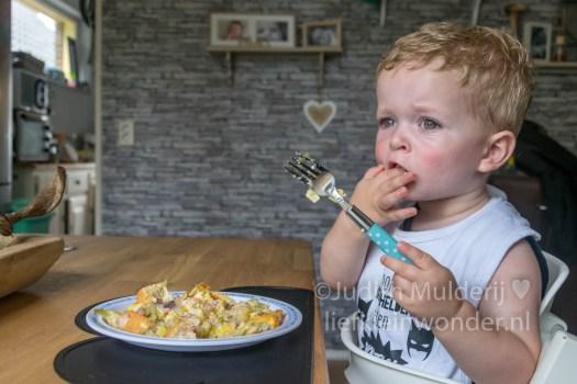 Jayden 20 maanden en 1 week oud peuter dreumes - zelfgemaakte quiche met prei en ham