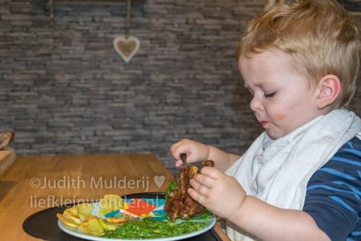 Jayden 20 maanden en 3 weken oud peuter dreumes mama blog - Spinazie met karbonade