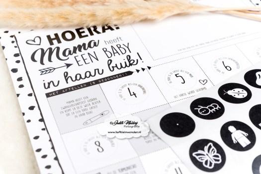 Zwangerschap aftelposter Suede Design mama heeft een baby in haar buik mama blog zwangerschap zwart wit monochrome