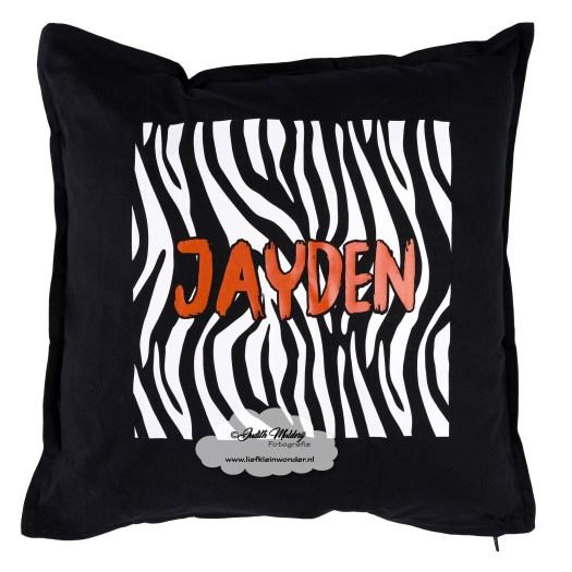 bedrukte kussen zebra roest zwart crea by corine goedkoop review blog kinderkleding