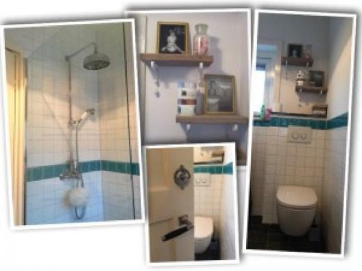 De douche< met boven de wc, kleine Stef en Jodi