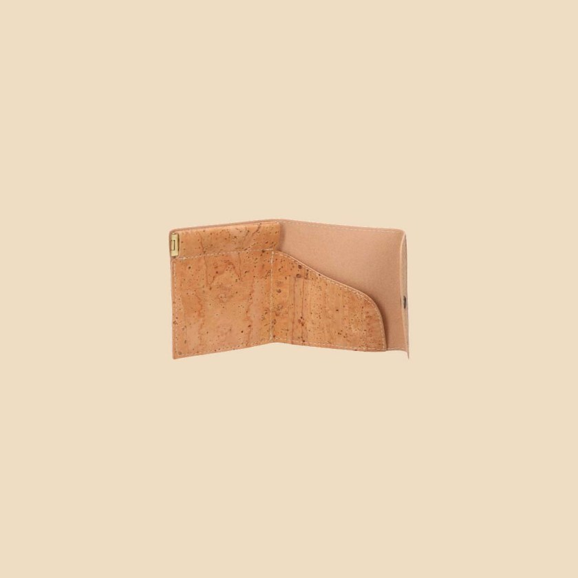 Portefeuille en liège modèle Aurae vue ouvert couleur naturel