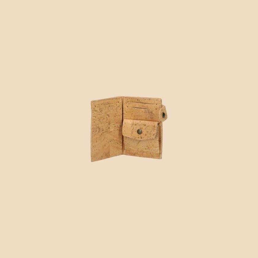 Portefeuille en liège modèle Dryade vue ouvert couleur naturel