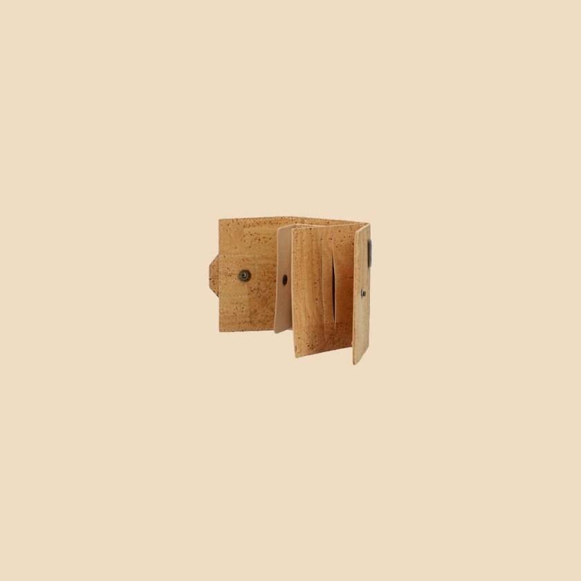 Portefeuille en liège modèle Gaïa vue ouvert profil couleur rouge