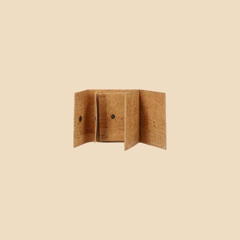 Portefeuille en liège modèle Mumble vue ouvert couleur naturel