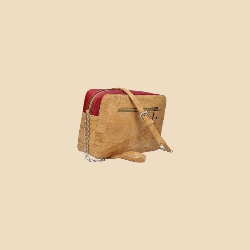 Sac bandoulière en liège modèle Concordia vue dos couleur rouge