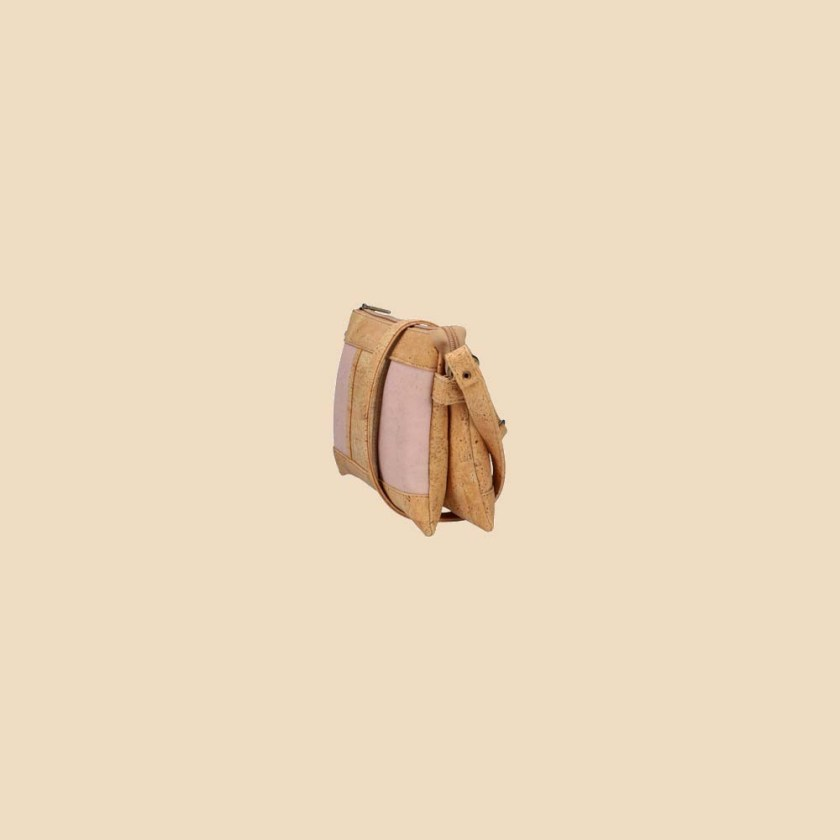 Sac bandoulière en liège modèle Galatée vue profil couleur rose