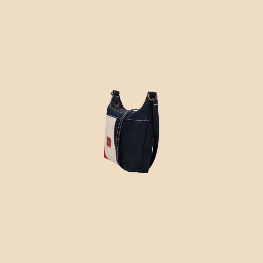 Sac bandoulière en liège modèle Marica vue profil couleur tricolore