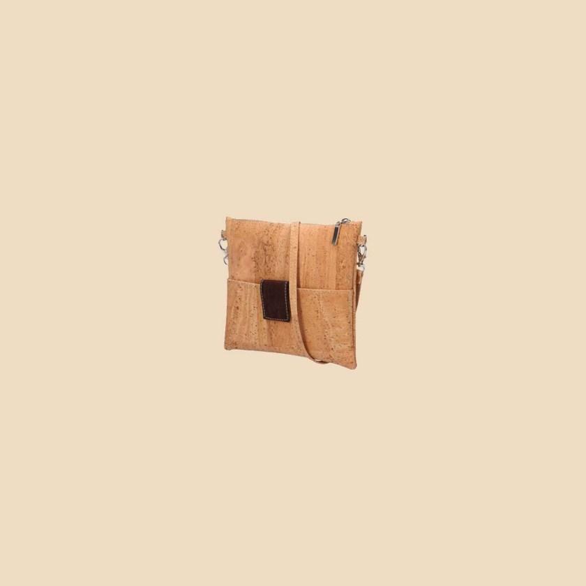 Sac bandoulière en liège modèle Mondriaan vue trois quarts couleur marron