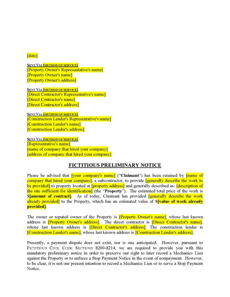 Notice of intent to lien letter nevada poemsrom click here to view a sample notice of furnishing for fictitious state pre lien payment demand altavistaventures Image collections