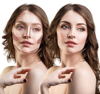 Young beautiful woman with contouring sample on face. Professional make-up concept.