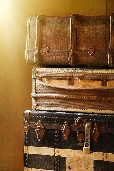 Koffers bij een blog over vakantiefoto's