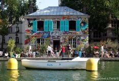 Colourful house at Bassin de la Villette