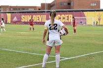 Junior defender and team captain Madison Stark awaits for her teammates to set up before she throws the ball in against Stanford University.