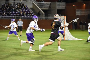 Junior midfielder Wes Schuler tried to put the ASU men's club lacrosse team up on the board against Phoenix valley rival Grand Canyon University.
