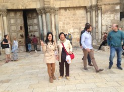 with oma Yuli in front of the church of the Holy Sepulchre