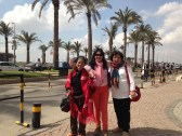 with oma Dorkas and oma Yuli in front of the mall