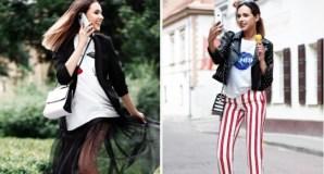 Trys madingi aprangos deriniai miesto merginai