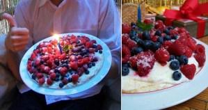 Pavlovos tortas su avietėmis ir šilauogėmis