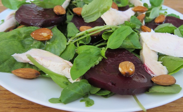 Roast Beet, Chicken & Basil Salad with a Lemon Zest Dressing