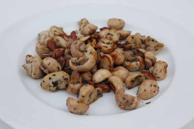 Sauteed Button Mushrooms with Toasted Almonds & Mixed Herbs