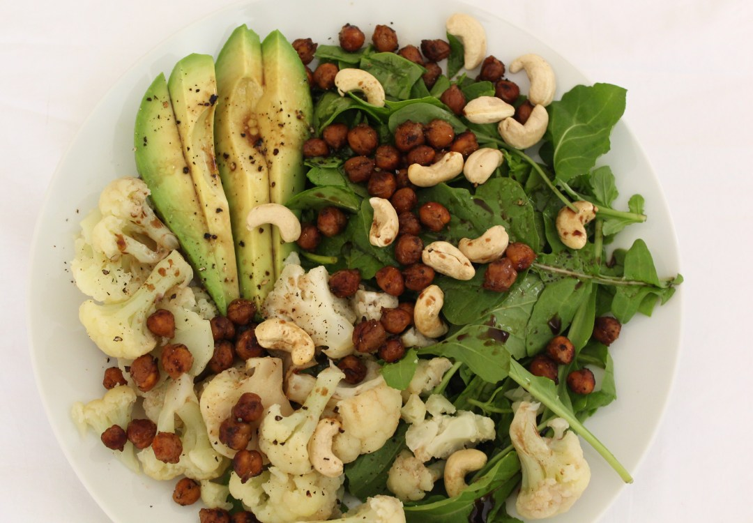 Roast Chickpea, Cauliflower & Cashew Salad with Balsamic Vinaigrette