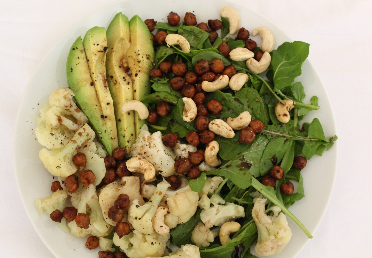 Roast Chickpea, Cauliflower & Cashew Salad with Balsamic Vinaigrette