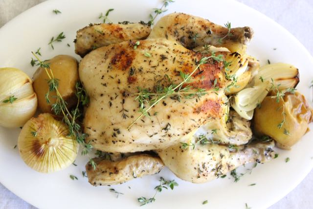 Roast Chicken with Thyme, Apple & Onion