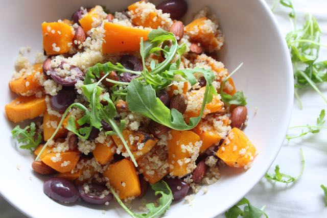 Roasted Butternut with Quinoa, Olives & Almonds