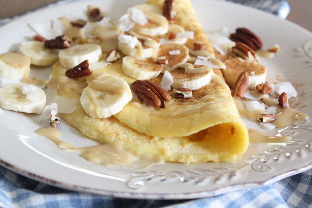 Sweet Cinnamon & Banana Omelette (dairy-free, gluten-free, sugar-free)