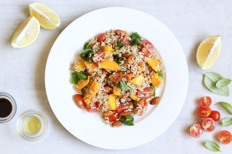 Brown Rice, Mango, Tomato & Basil Salad
