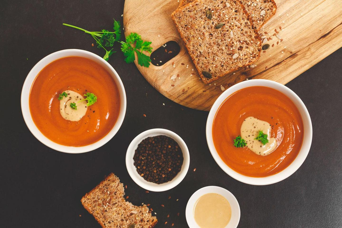 Roasted Red Pepper, Sweet Potato & Mushroom Soup (dairy-free, gluten-free)