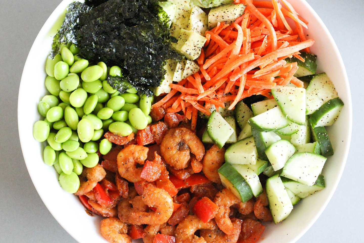 Spicy Shrimp Poke Bowl with Brown Rice (gluten-free, dairy-free)