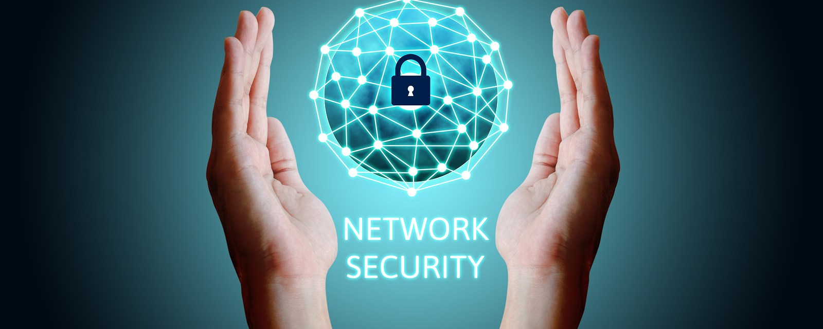 Cyber security network concept holding global network security