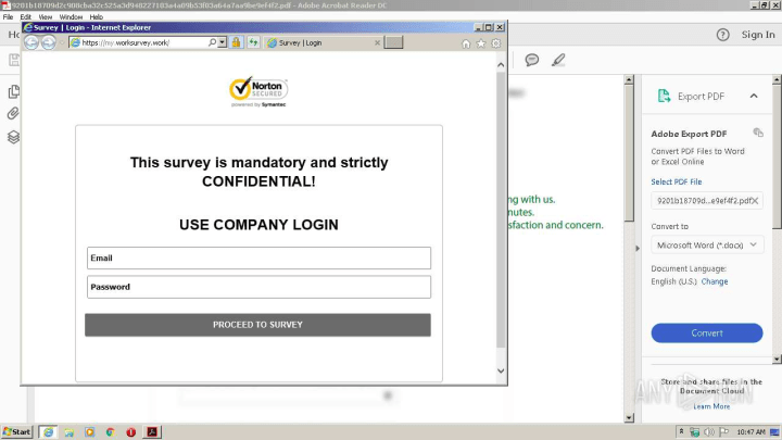 Any.Run - phishing website opened after TAKE SURVEY button click