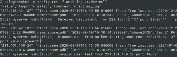 Logchecker used for scanning the auth.log from Linux server