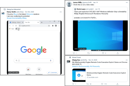 Tweets concerning this claimed-to-be successful exploit (Source: Google TAG)