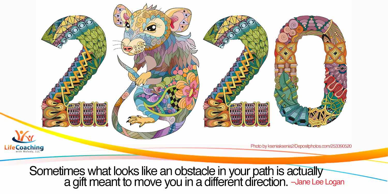 """Image of a hand drawn zentangle rat 2020 with quote, """"Sometimes what looks like an obstacle in your path is actually a gift meant to move you in a different direction."""" by Jane Lee Logan"""