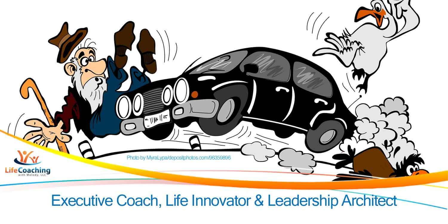 Cartoon of car at high speed hitting an old man and birds. The purpose is to show speed bumps in life are meant to slow you down for surprises