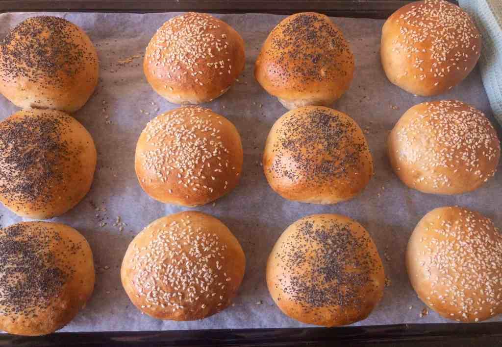 Spelt hamburger rolls - after baking
