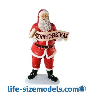 Father Christmas Holding Merry Christmas Banner Figure