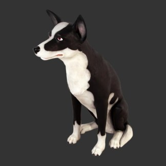 Sheepdog Lifesize Black and White Dog Model