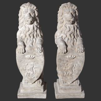 Heraldic Lions 3D Realistic Stone Effect Garden Ornaments