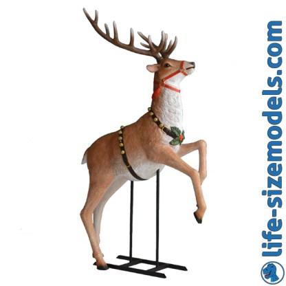 Rearing Reindeer 3D Realistic Lifesize Christmas Model